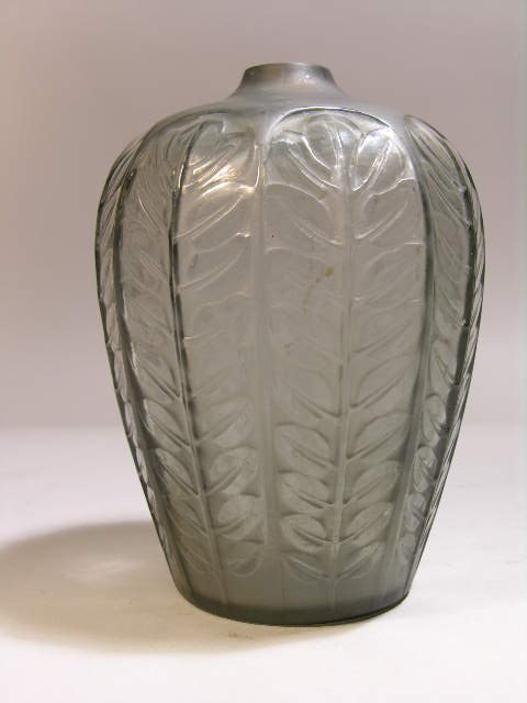 "5: R. LALIQUE ""TOURNAI"" VASE IN SMOKY GRAY GLASS."