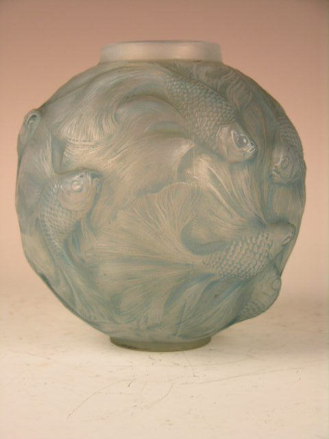 "9: RENE LALIQUE ""FORMOSE"" VASE WITH BLUE PATINA."