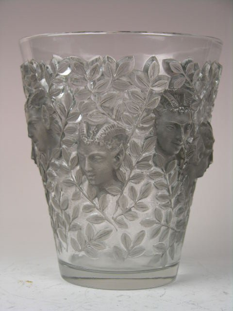 "12: RENE LALIQUE ""SILENES"" VASE WITH GREY PATINA."