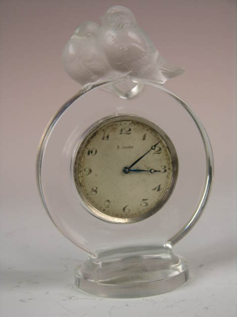 "13: R. LALIQUE ""PIERROTS"" DESK CLOCK."