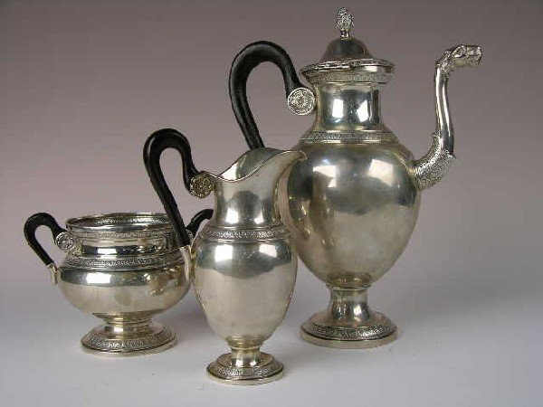 3: SILVER THREE PIECE TEA SET.