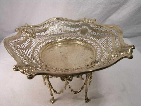 4: ENGLISH STERLING SILVER COMPOTE.  BEAUTIFUL RETICULA