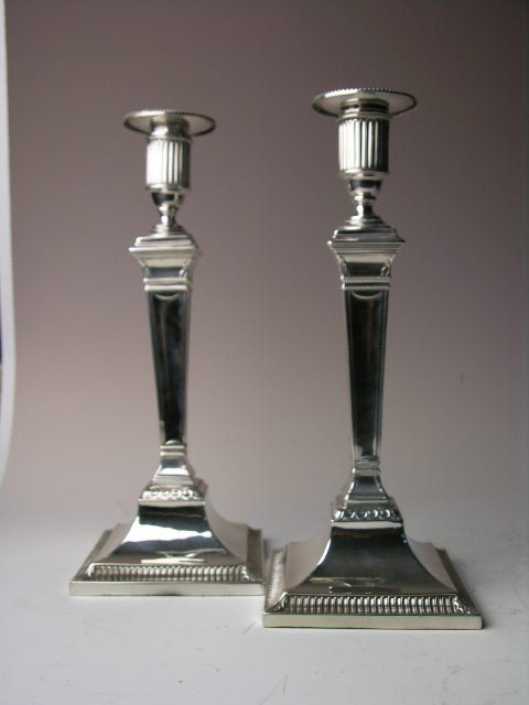 9: STERLING SILVER GEORGIAN CANDLESTICKS.