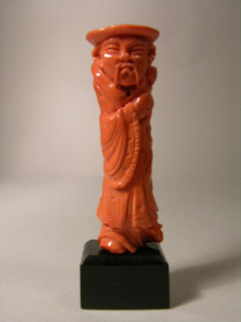 "15: CORAL CARVING OF A MAN. 3 1/4""."