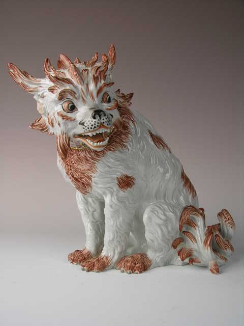 20: GERMAN DRESDEN PORCELAIN DOG FIGURE.