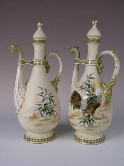 21: PAIR OF TEPLITZ  EWERS.