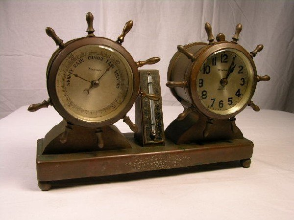 4: WATERBURY CLOCK AND BAROMETER.  ENGRAVED TEXT ON FRO
