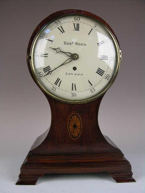"8: BALLOON MANTLE CLOCK CIRCA 1890.  ""ROBERT WOOD/LONDO"