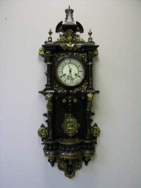 7: ANTIQUE WALL CLOCK WITH PENDULUM.  OVERALL LENGTH 39