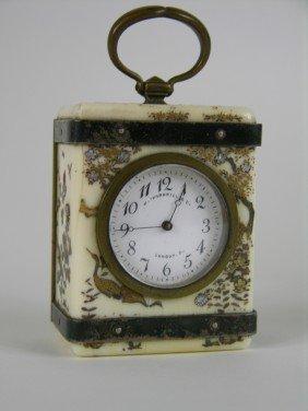 13: ANTIQUE SHIBAYA MINATURE CARRIAGE CLOCK.