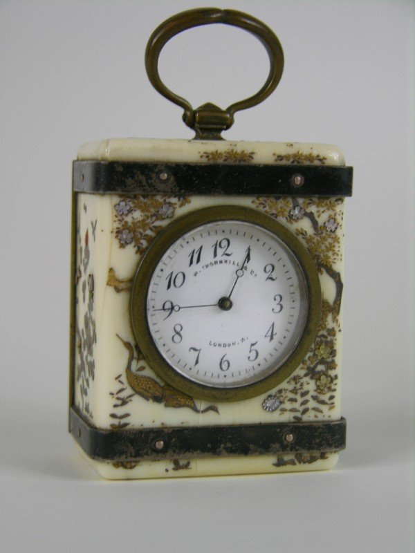 13: ANTIQUE SHIBAYA MINATURE CARRIAGE CLOCK.