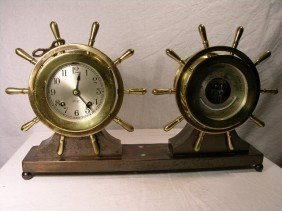 "CHELSEA SHIPS CLOCK AND BAROMETER.  ""PILOT/CLAREMON"