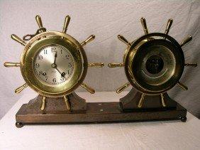 "15: CHELSEA SHIPS CLOCK AND BAROMETER.  ""PILOT/CLAREMON"