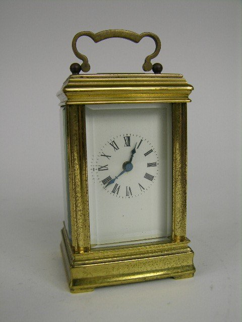 "19: BRASS CARRIAGE CLOCK. 3 1/4"" HIGH."