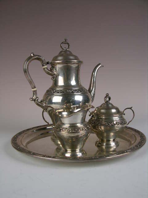 "102: FOUR PIECE ""GORHAM"" (AMERICAN) STERLING SILVER TEA"