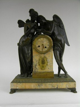 """7C: A VERY NICE  ANTIQUE BRONZE AND MARBLE """"CUPID AND P"""