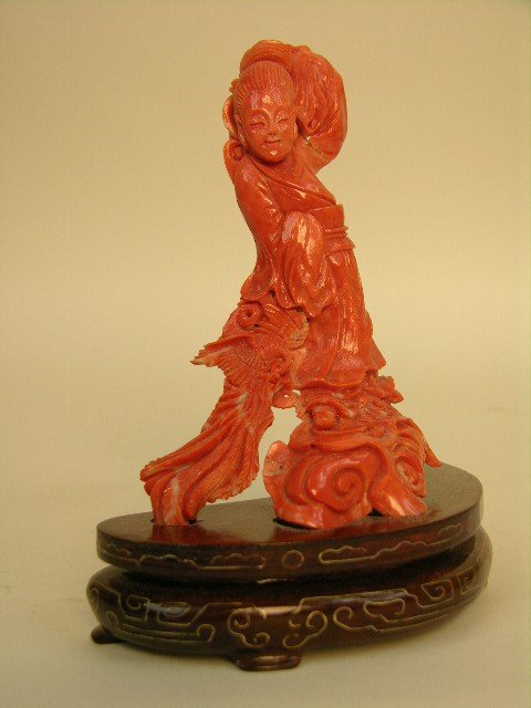 1: CORAL CARVING OF  A LADY WITH A PEACOCK.