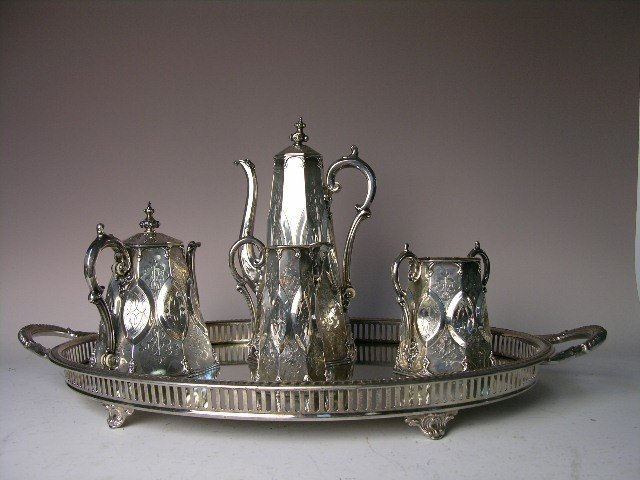4: GEORGE ANGELL (ENGLISH).  STERLING SILVER TEA SET.