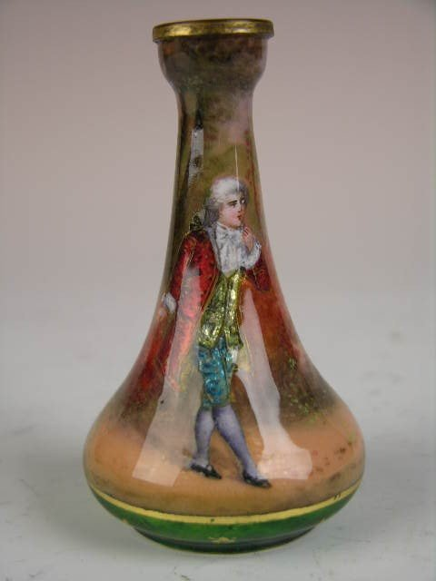 15: FRENCH HAND PAINTED ENAMELED  VASE.