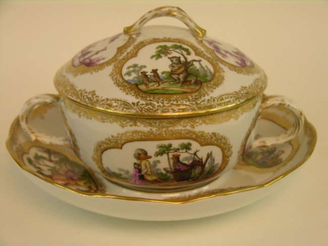 18: MEISSEN BOWL, LID AND UNDERPLATE.