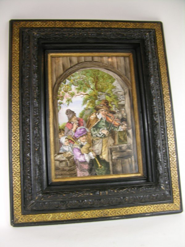 19: ANTIQUE FRAMED PORCELAIN PLAQUE.