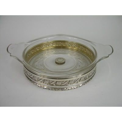 1: A VERY NICE STERLING SILVER AND GLASS SERVING DISH.