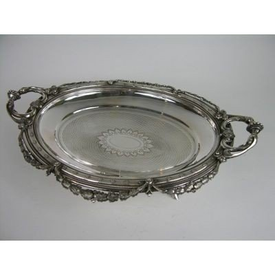 4: AN ANTIQUE AUSTRO-HUNGARIAN SILVER TWO HANDLED TRAY