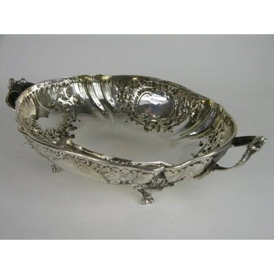 3: A VERY NICE CIRCA 1890 GERMAN SILVER TWO HANDLED TRA