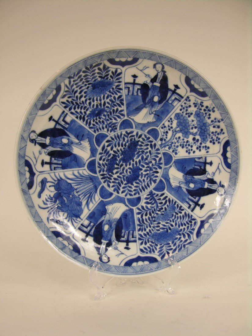 14: 18 TH CENTURY BLUE AND WHITE CHINESE PLATE. DECORAT