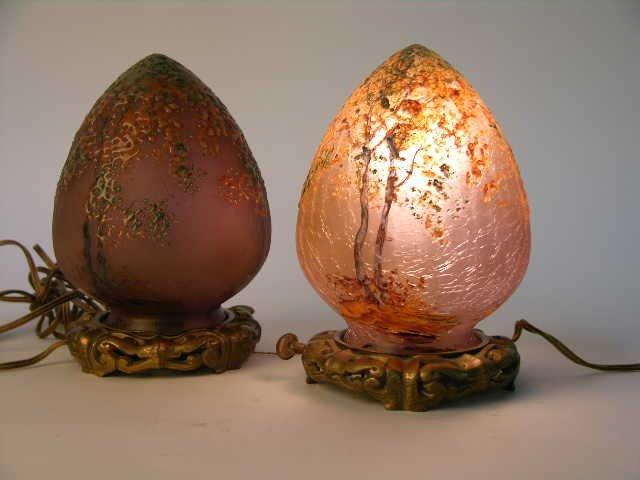 10: PAIR OF HANDEL ART GLASS EGG SHAPED LAMPS.