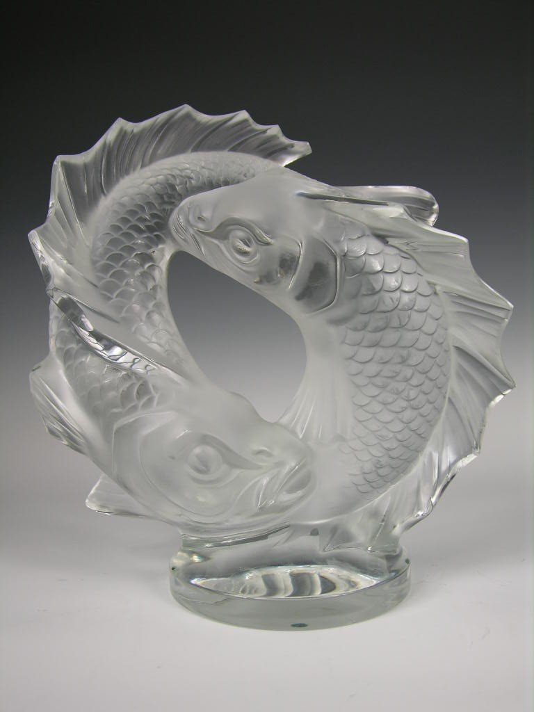 2: LALIQUE DOUBLE FISH SCULPTURE IN CLEAR AND FROSTY GL