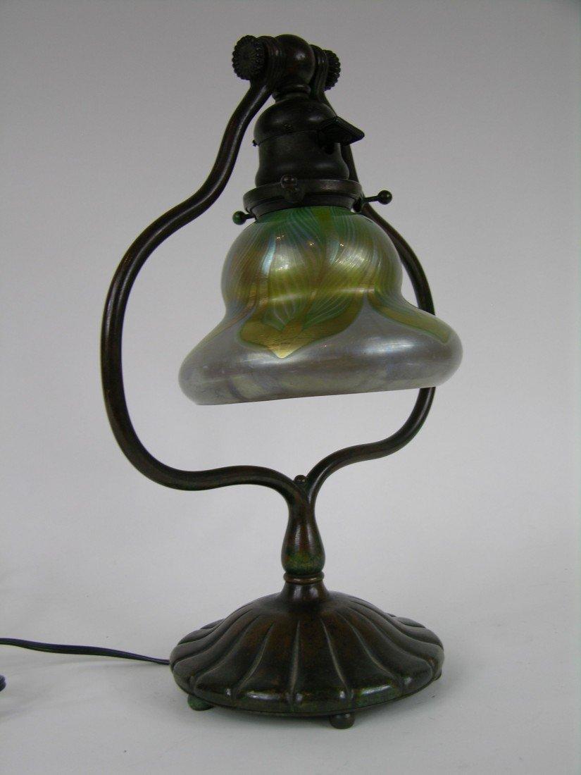 13: TIFFANY STUDIOS HARP LAMP AND SHADE.