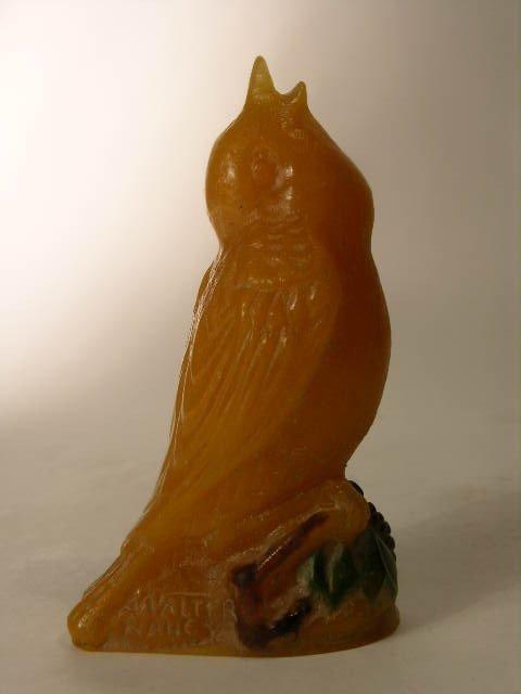 15: A. WALTER NANCY PATTE DE VERRE BIRD FIGURE.
