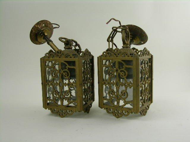 13: Pair of gilt-metal and glass lanterns-metal and gla