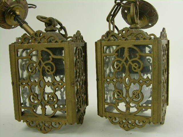 13: Pair of gilt-metal and glass lanterns-metal and gla - 2