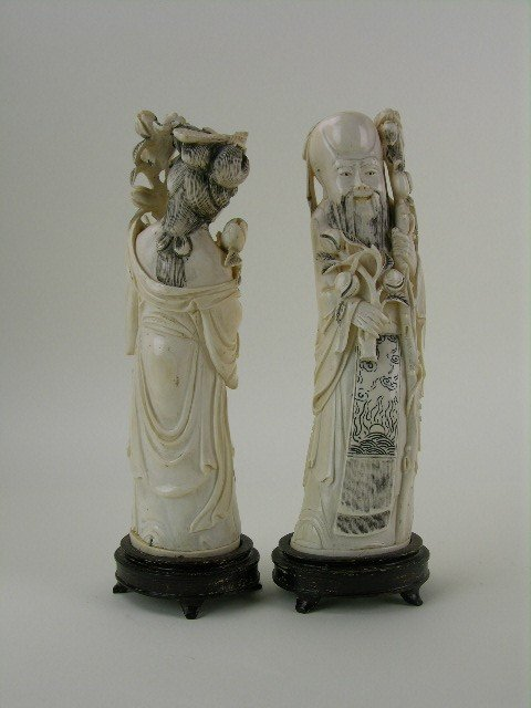 24: A pair of carved Chinese ivory figures. - 4