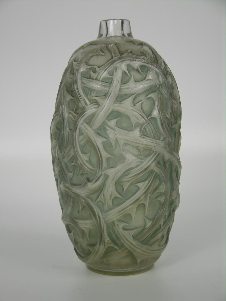 """58: Rene Lalique  """"Ronces"""" vase in with a light blue pa"""