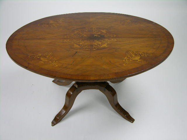163: Italian neoclassical style walnut and marquetry