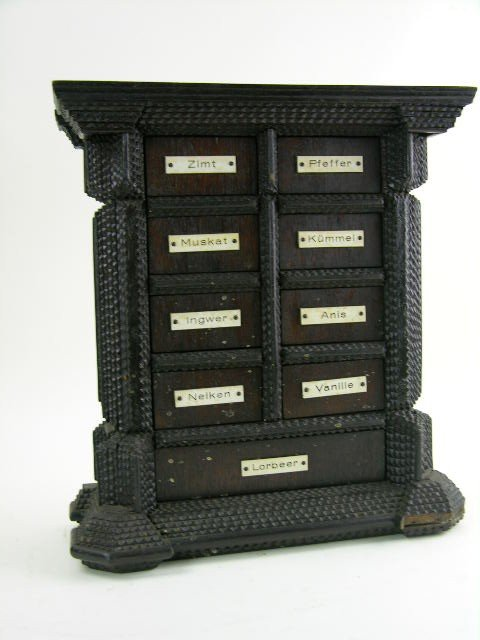 164: Pennsylvania Dutch hanging spice cabinet, Amish fo