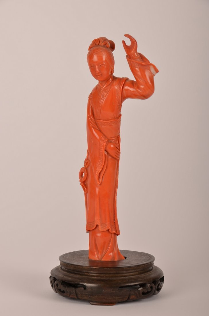 3: Chinese carved coral figure of a lady