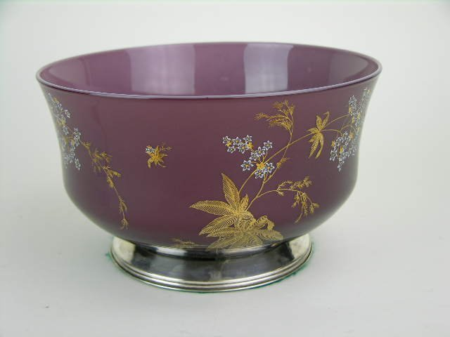 22: Opaline and enamel decorated '800' silver-mounted b