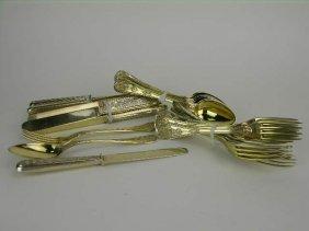Austrian Thirty-piece Vermeil Silver Flatware