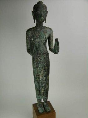 16th Century Bronze Buddha Standing In The