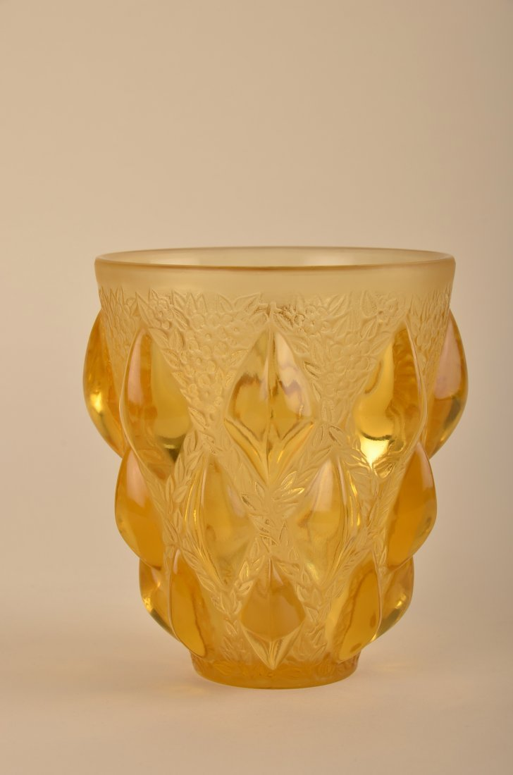 "98: Rene Lalique ""Rampillion"" vase in yellow glass."