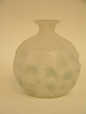 "Rene Lalique ""Ormeaux"" Vase In A Milky White Glass"