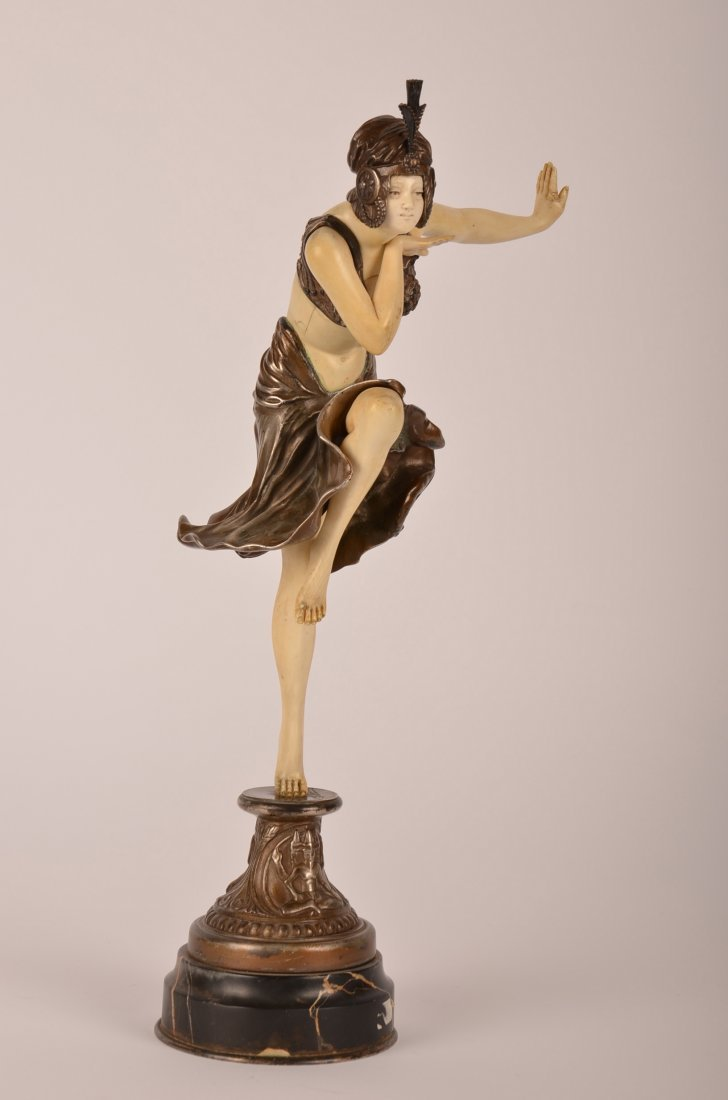 145: C J Colinet bronze and ivory figure