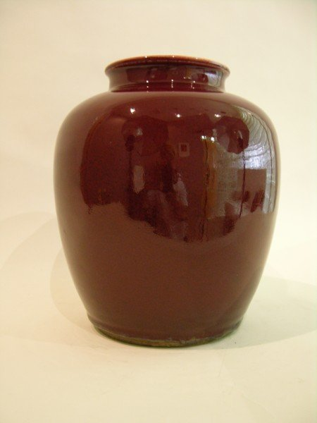 286: Large Antique Chinese deep red vase.
