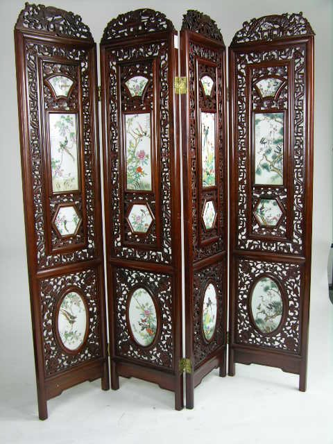 60: FOUR PANEL CHINESE SCREEN