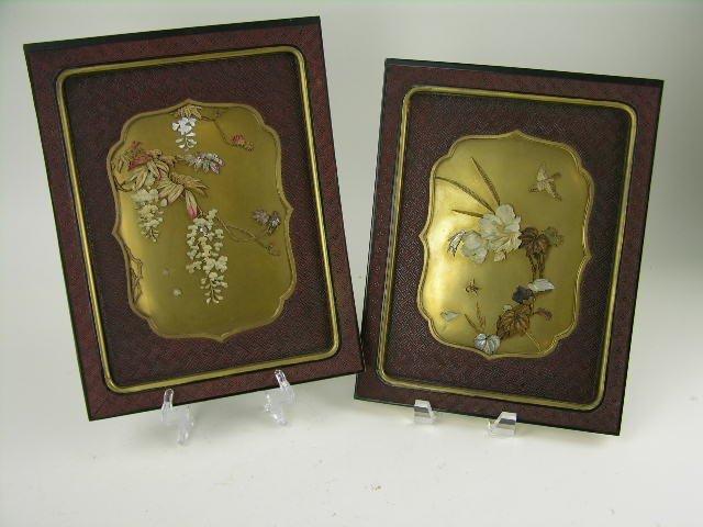 64: Pair of Japanese Shibayama panels, gold and red lac