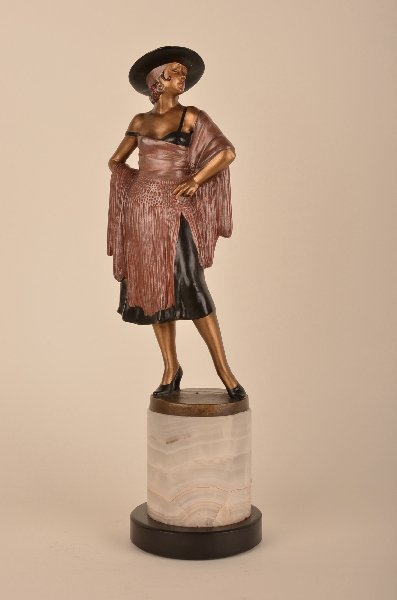 66D: A cold painted bronze figure of a Flamenco dancer